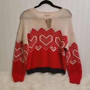 NWT Philosophy Red Combo Wool Blend Sweater